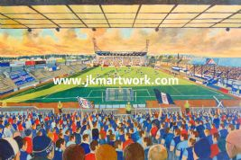 Hand Painted original of starks park on matchday